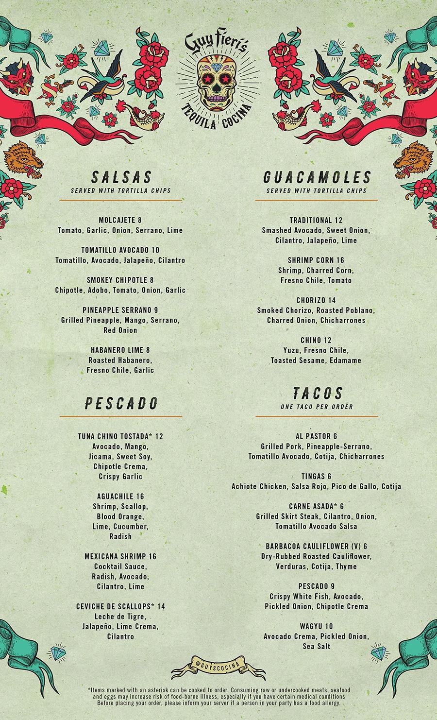 Guy Fieri's Tequila Cocina menu