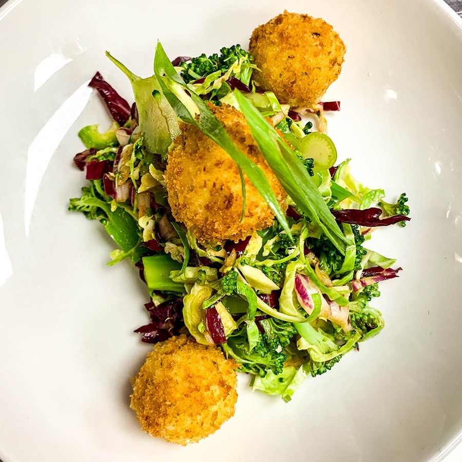 Crunchy broccoli and goat cheese fritters at Pollo Club