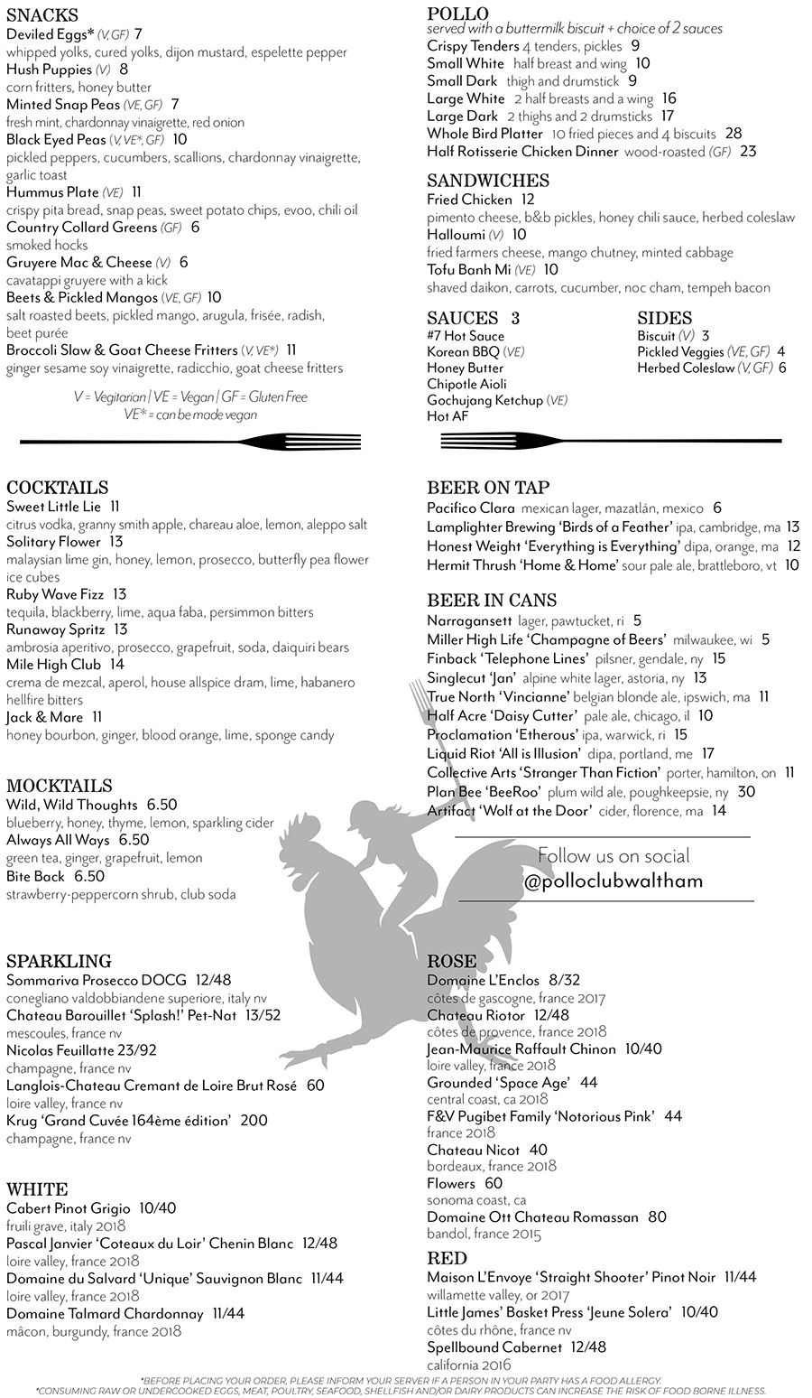 Pollo Club Opening Menu