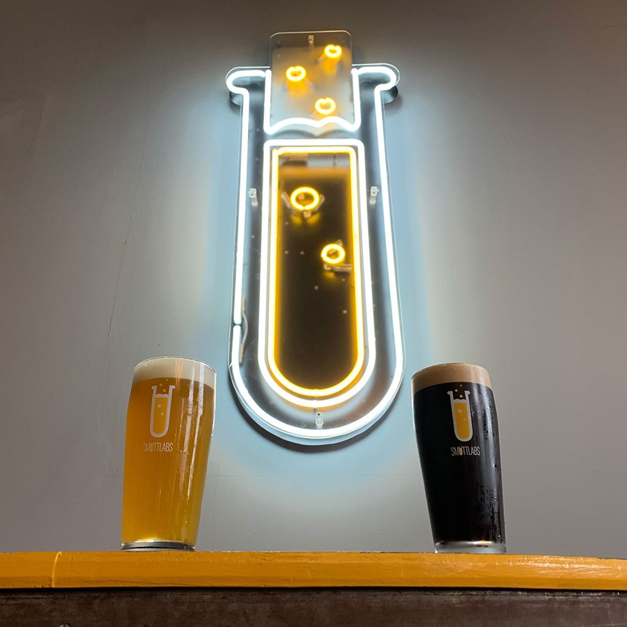 Two Smuttlabs beer displayed on the bar at the new Dover, N.H. brewery and taproom