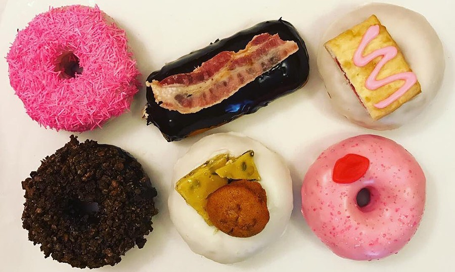 """Speakeasy Donuts' """"Mean Girls""""-inspired flavors, including So Fetch, topped with strawberry toaster strudel; and You Go Glen Coco, with a cocoa crispy crunch topping."""