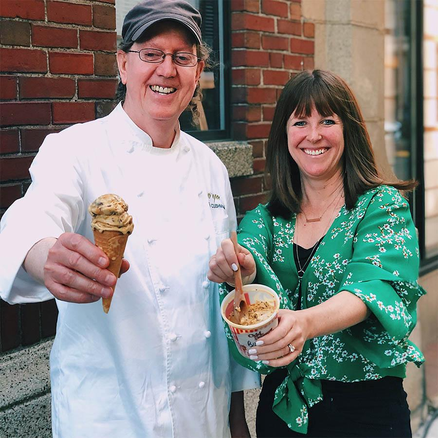O Ya, Hojoko, and Bianca restaurateurs Tim and Nancy Cushman teamed up with soon-to-be Chestnut Hill neighbor OddFellows Ice Cream