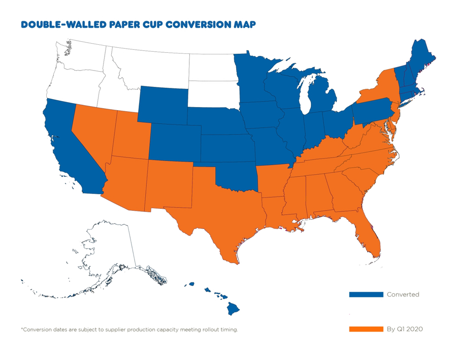 dunkin paper cup map
