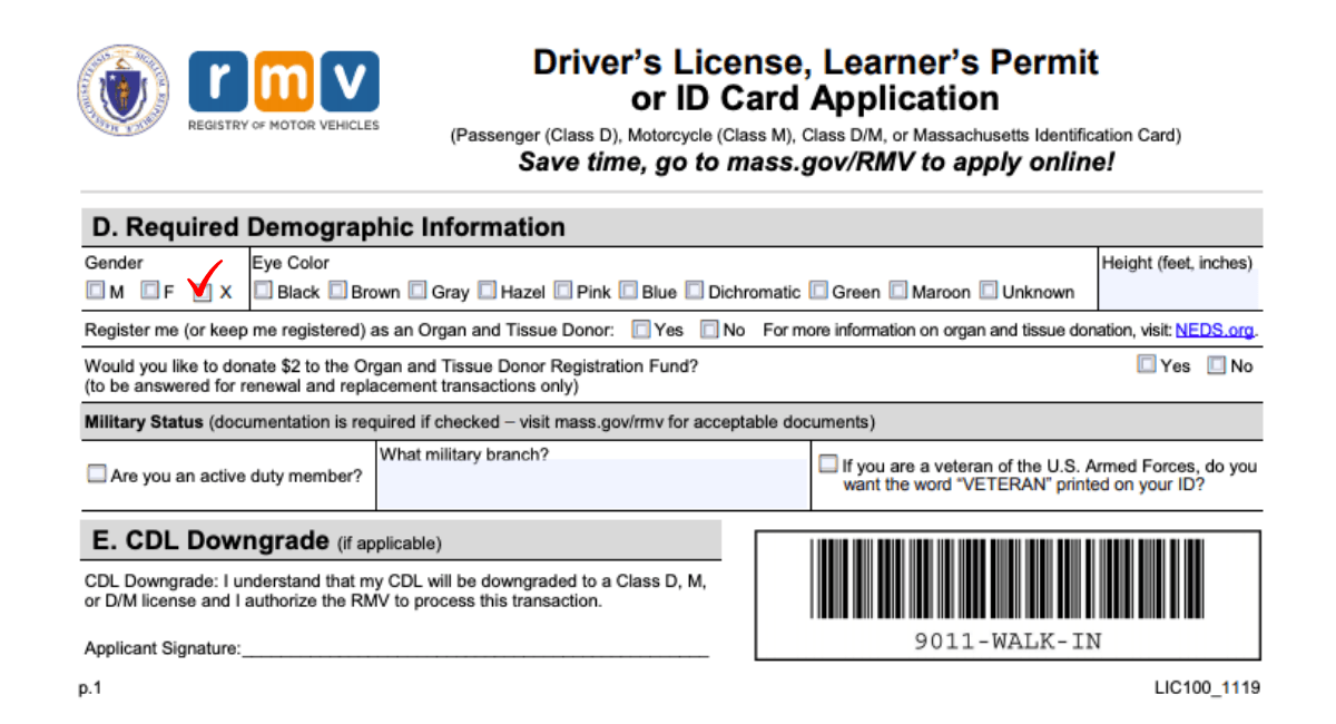 The Mass Rmv Officially Recognizes A Non Binary Gender Option Now