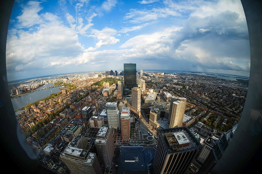 Boston skyline view from the Top of the Hub