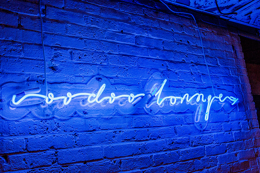 Buttermilk & Bourbon voodoo lounge neon sign
