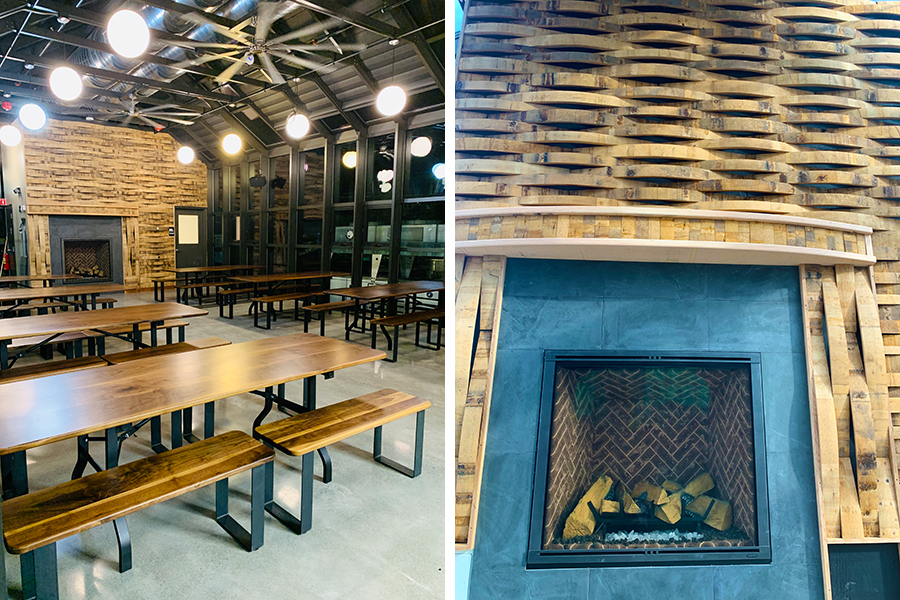 Detail photos of the woodworking inside the Hopservatory rooftop beer hall at Dorchester Brewing Company