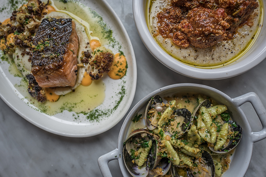 Dishes from the Feast of Seven Fishes-themed holiday lunch menu at Waypoint