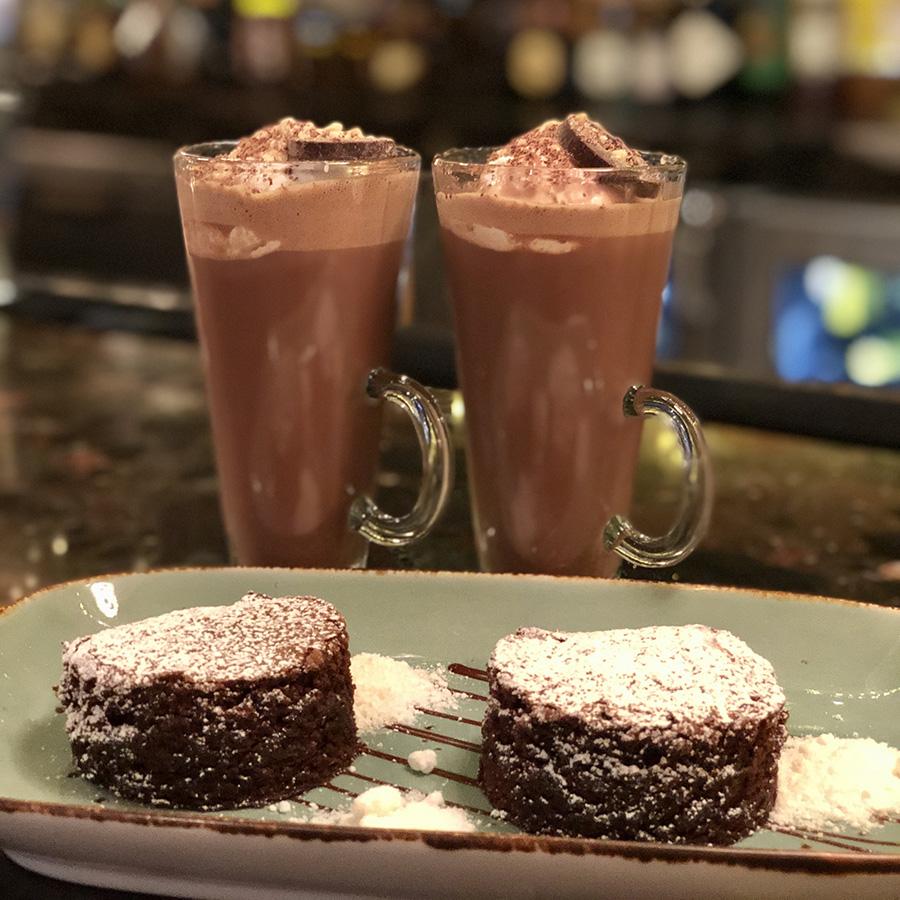 bistro du midi snow day special 2019 hot chocolate brownie