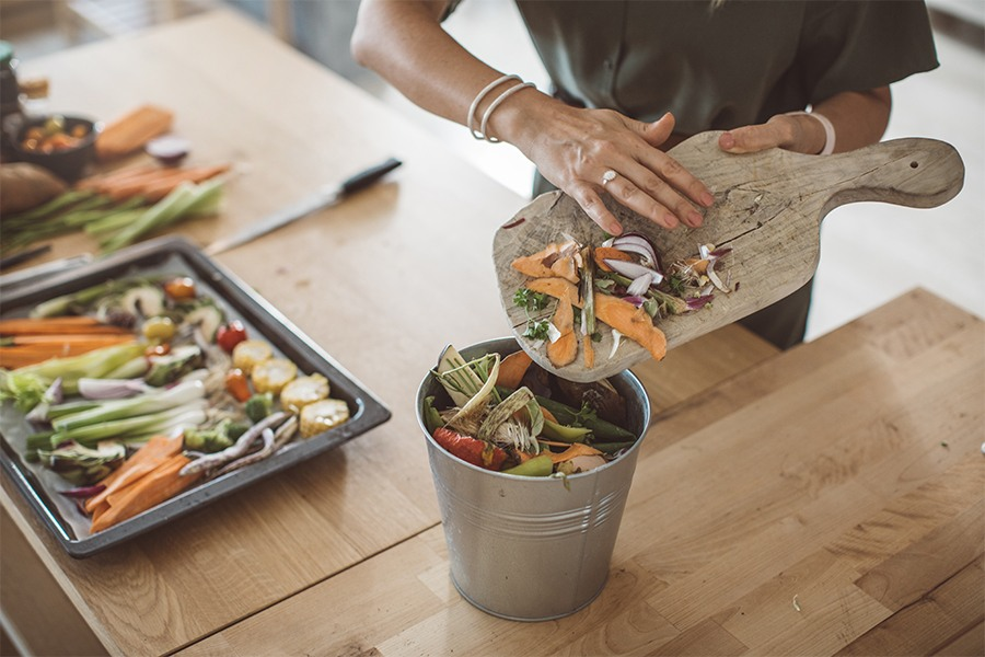 person composting food