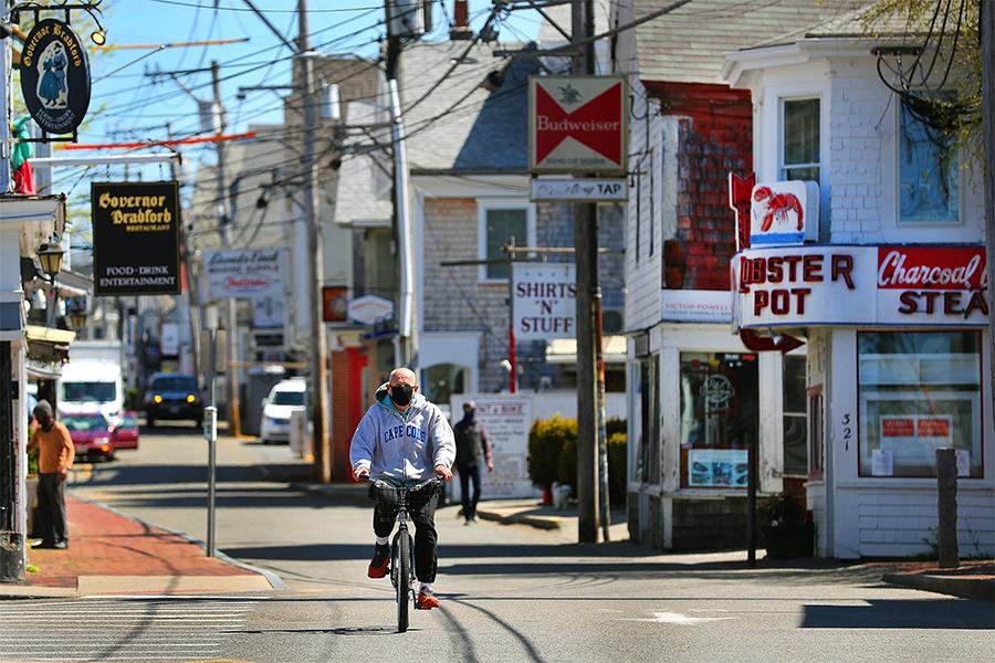 man on bike in provincetown