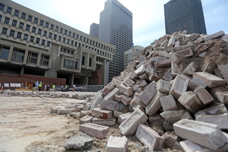 city hall plaza construction starts