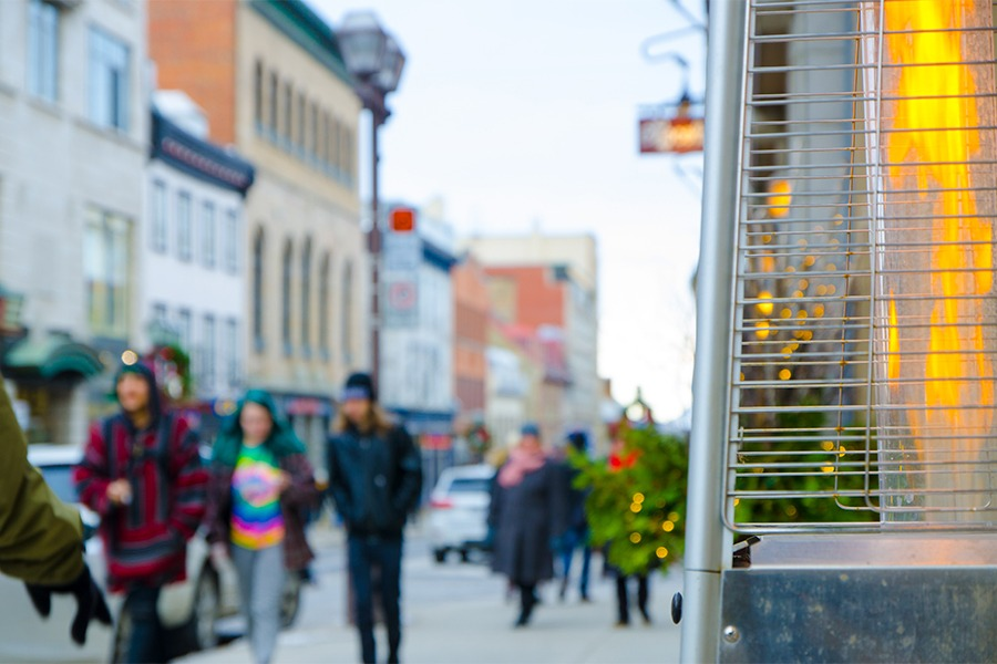 outdoor space heater with pedestrians
