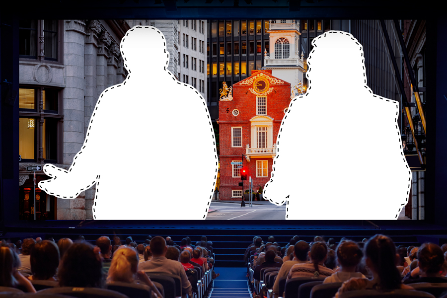 silhouettes on a movie screen