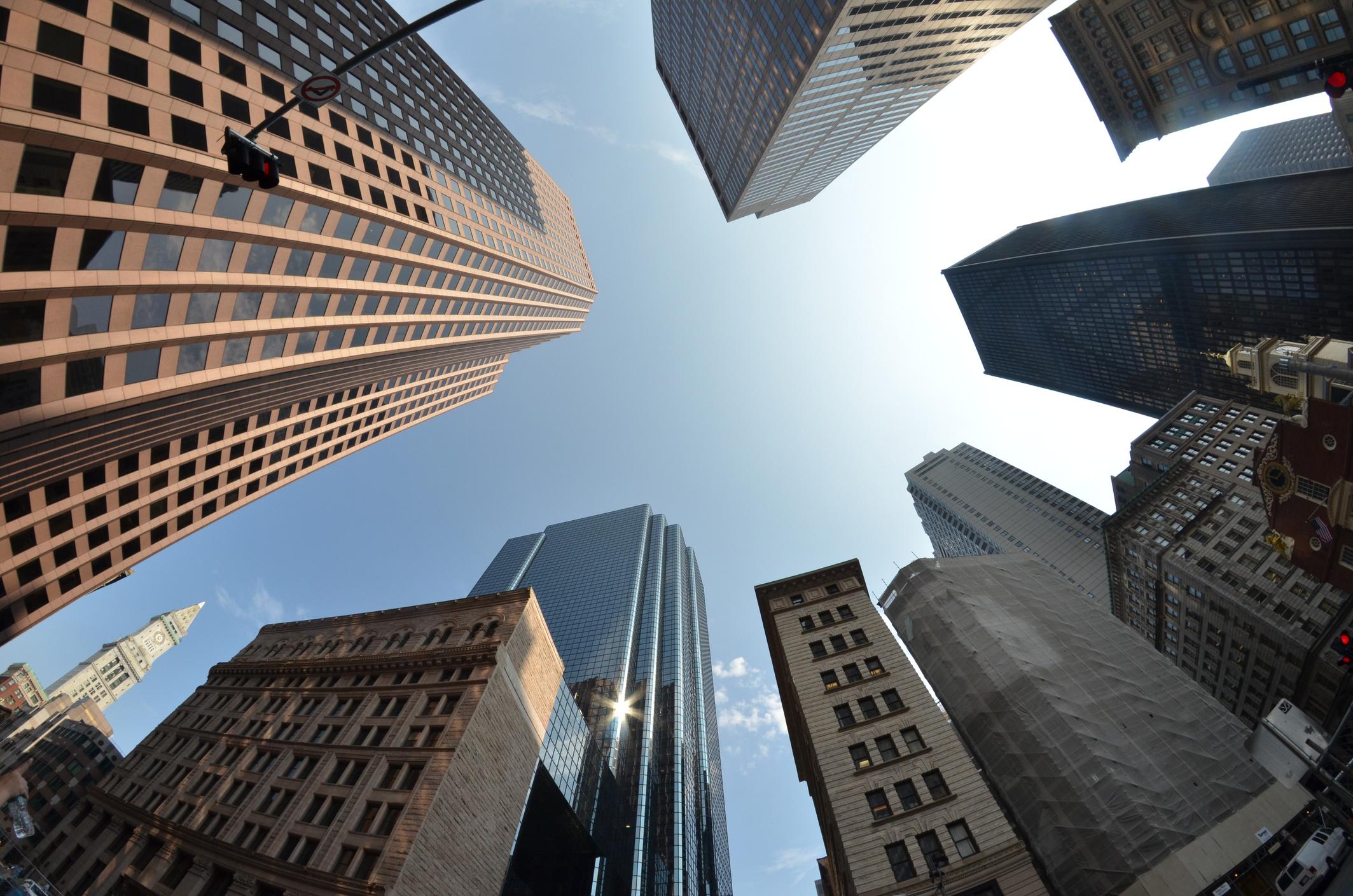 Fish-eye lens of building, Boston, US.