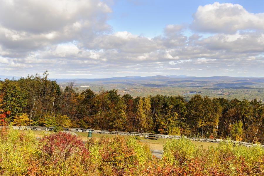 Fall day Wachusett Mountain clouds distant hills
