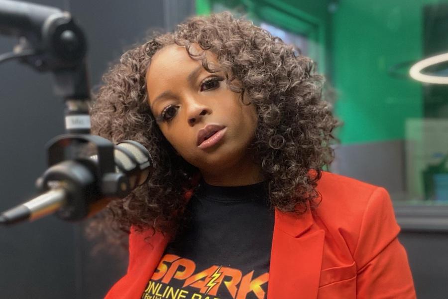 Danielle Johnson in the Spark FM booth.