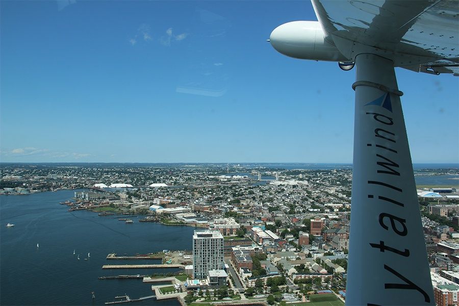 charles river and a seaplane wing