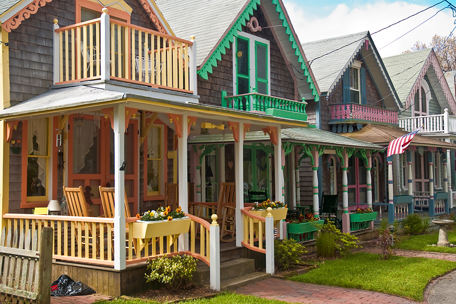 Adorable cottages with brightly painted trim