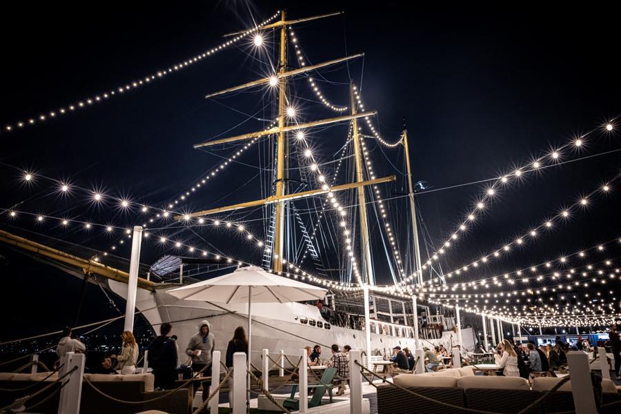 tall ship east boston night
