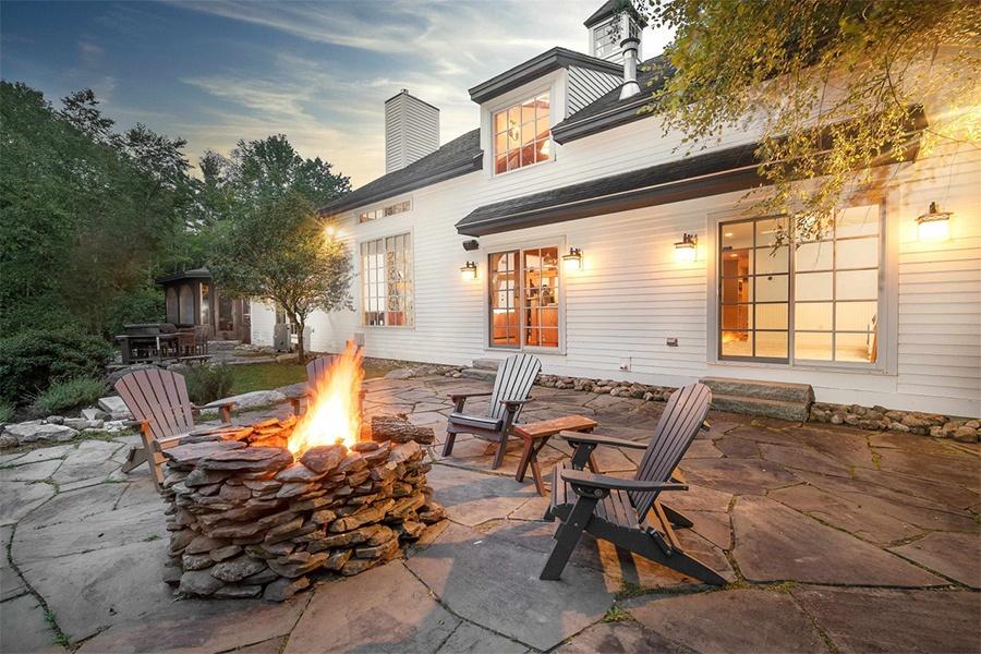 log cabin fire pit